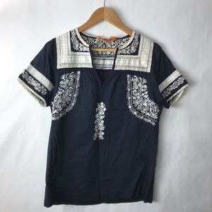 Tory Burch embroidered blouse navy blue 10